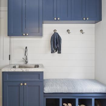 Great Blue Mudroom Cabinets With Built In Bench With Shoe Cubbies