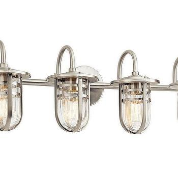 Vintage gold 3 light bathroom fixture with opal glass shades brushed nickel 4 light bathroom metal caged ribbed glass shades vanity light aloadofball Image collections