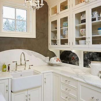 White And Brown Butler Pantry With Curved Marble Sink Backsplash