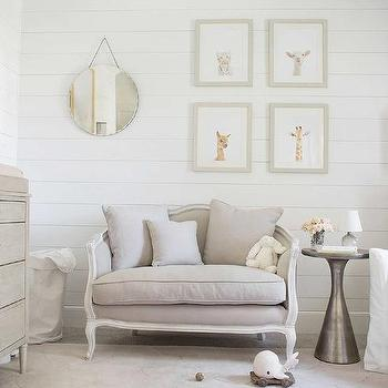 Gray Girl Nursery With French Settee