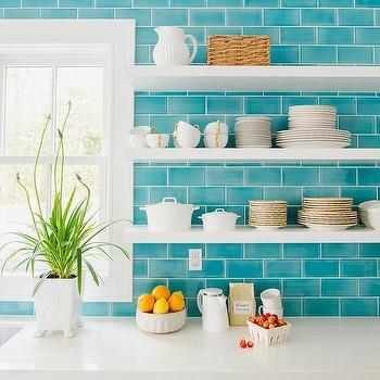 Ocean Blue Subway Tiles Design Ideas