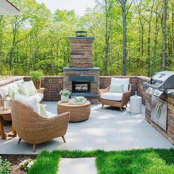 Modern Wicker Sofa and Chairs with Fireplace & Red Stone Patio Fireplace Design Ideas