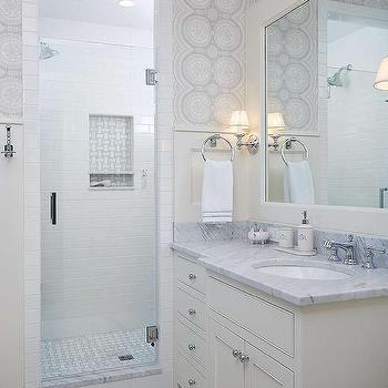 Gray chevron roman shade contemporary bathroom for Roberts designs bathroom accessories