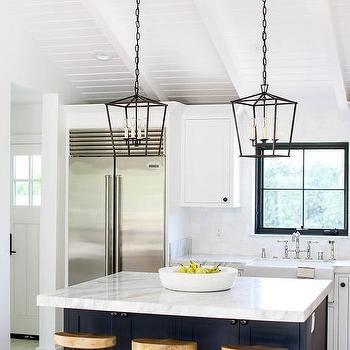 L Shaped Kitchen With Shiplap Island Transitional Kitchen