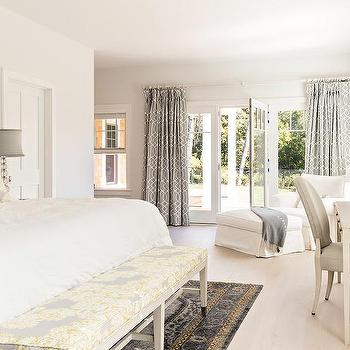 White Bedroom With Yellow And Gray Accents