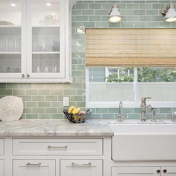 White And Green Kitchen With Farmhouse Sink