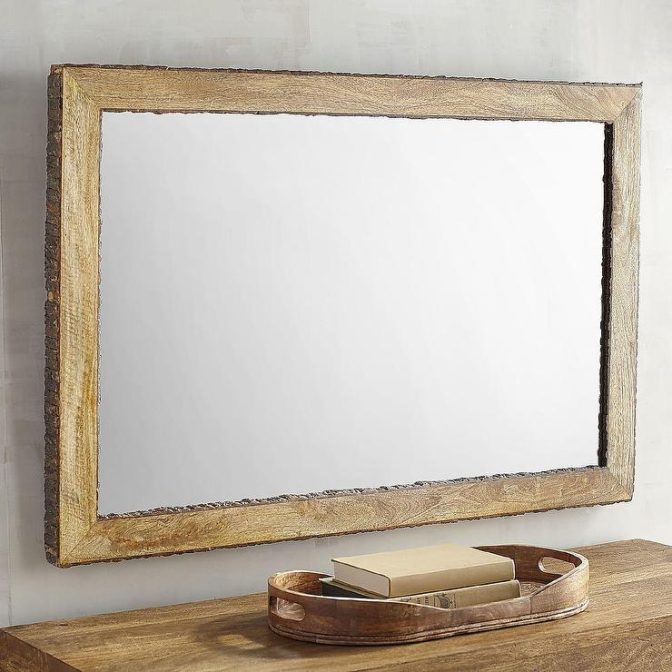 Live Edge Bark Trim Wood Framed Dakota Mirror