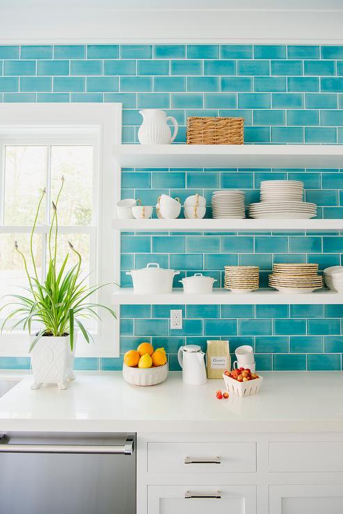 White Floating Kitchen Shelves With Ocean Blue Subway Tiles