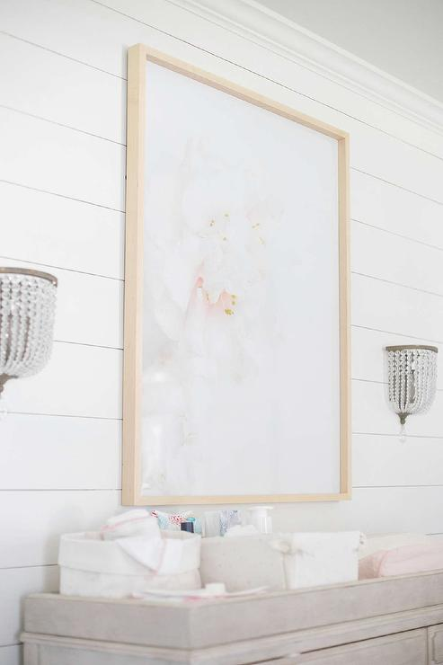 Pink Camellia Art Over Gray French Dresser Changing Table