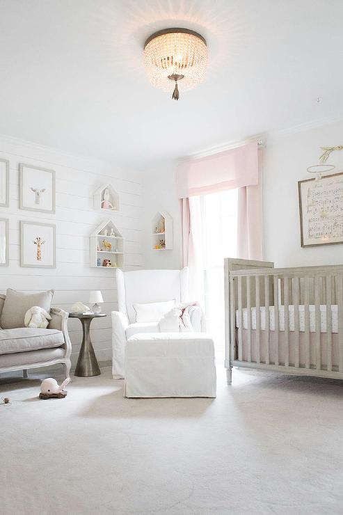 Gray And Pink Nursery Color Scheme Transitional Nursery Restoration Hardware Right White