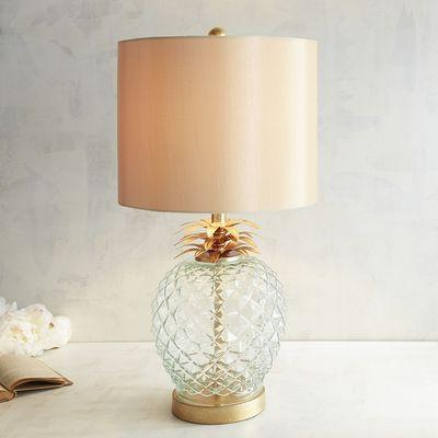 Fresh Cut Pineapple Glass Gold Side Table