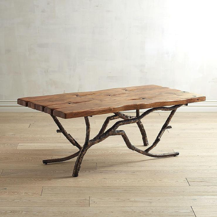 Rustic Brown Tree Branches Coffee Table