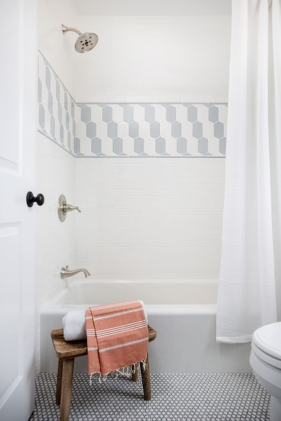White And Gray Shower Border Tiles View Full Size