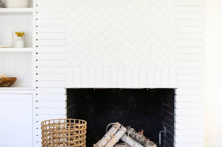 White Brick Herringbone Fireplace Transitional Living Room
