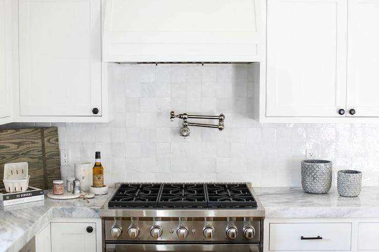 Attractive White Kitchen With White Glazed Grid Backsplash Tiles