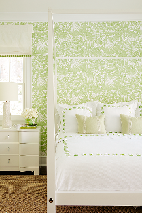 Meg Braff Designs - Restful white and green bedroom features walls clad in Meg Braff Nassau Wallpaper framing a window covered in a white and green roman ...