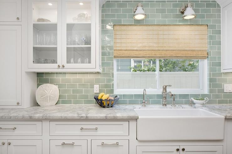 Wall Sconce Height Bathroom Above Sink : White and Green Kitchen with Farmhouse Sink - Transitional - Kitchen