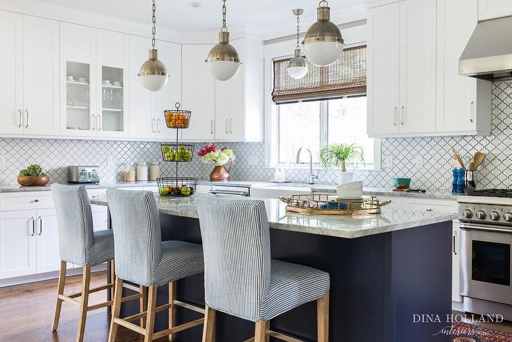 White And Blue Kitchen white kitchen with gray glass backsplash - cottage - kitchen