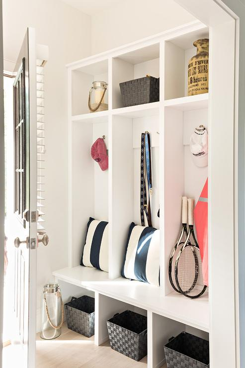 Mudroom Storage Bins : White open mudroom lockers with black woven bins