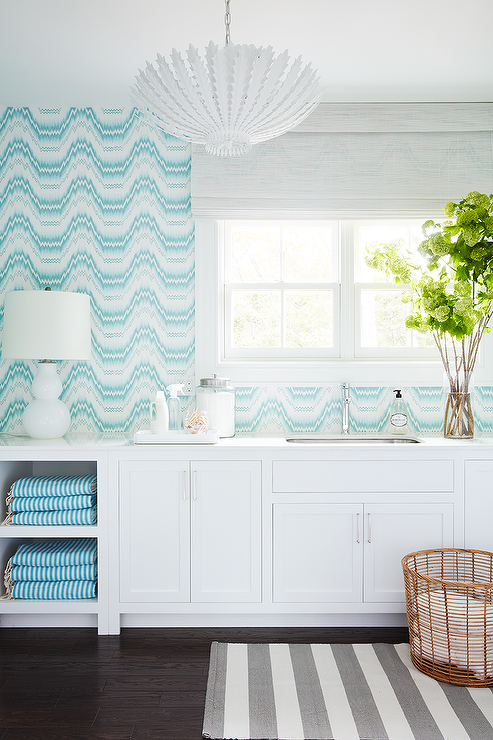 Turquoise Blue Laundry Room With Gray Striped Rug