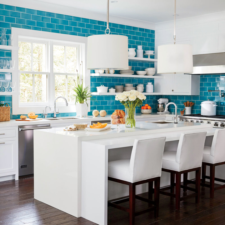 Superieur White Kitchen With Fireclay Ocean Blue Tile Backsplash