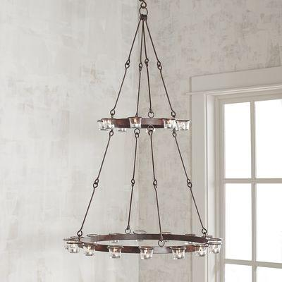Two tier wrought iron tealight candle holder chandelier aloadofball Gallery
