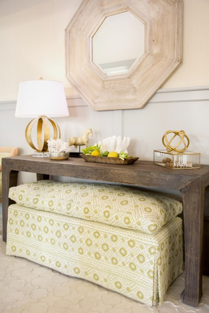 Yellow Foyer Table : Yellow ikat skirted console table with white bamboo mirror