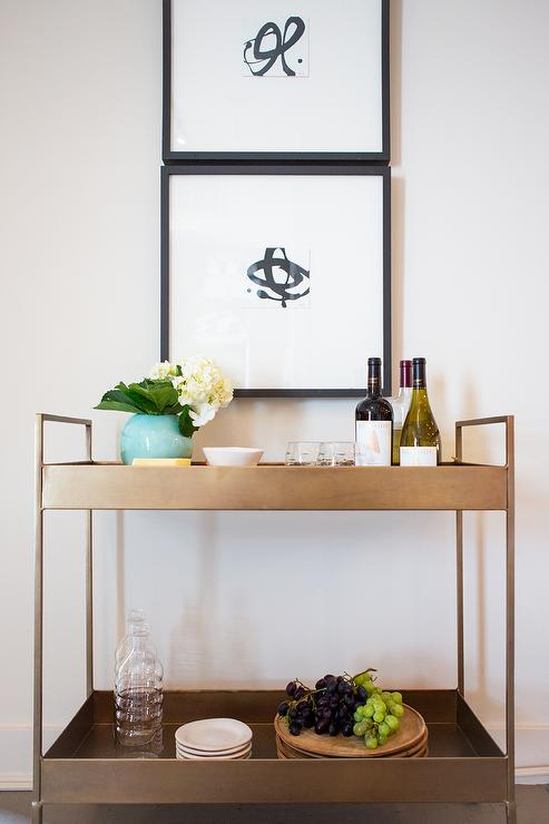 Foyer Bar Ideas : Brass libations cart with black and white abstract art