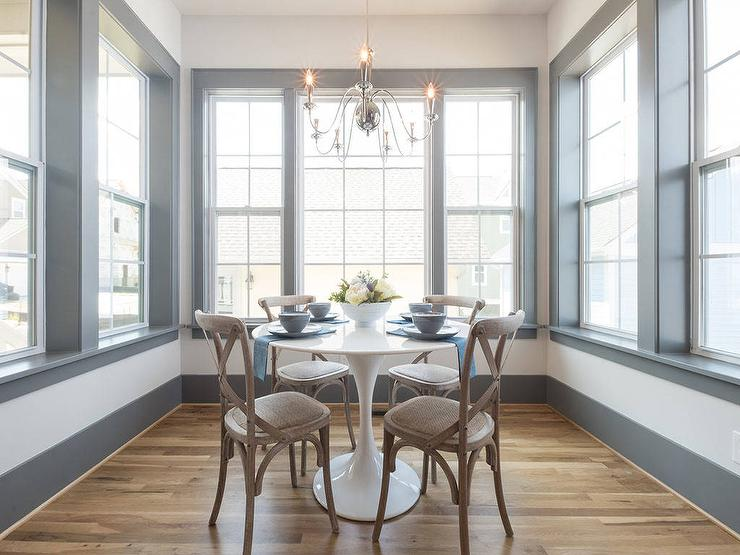 Breakfast Nook With Gray Trim Moldings Transitional