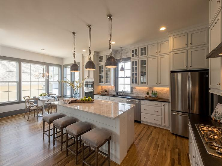 L Shaped Kitchen With Shiplap Island Transitional Kitchen
