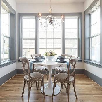 Round Wood And Marble Dining Table With Wooden Dining