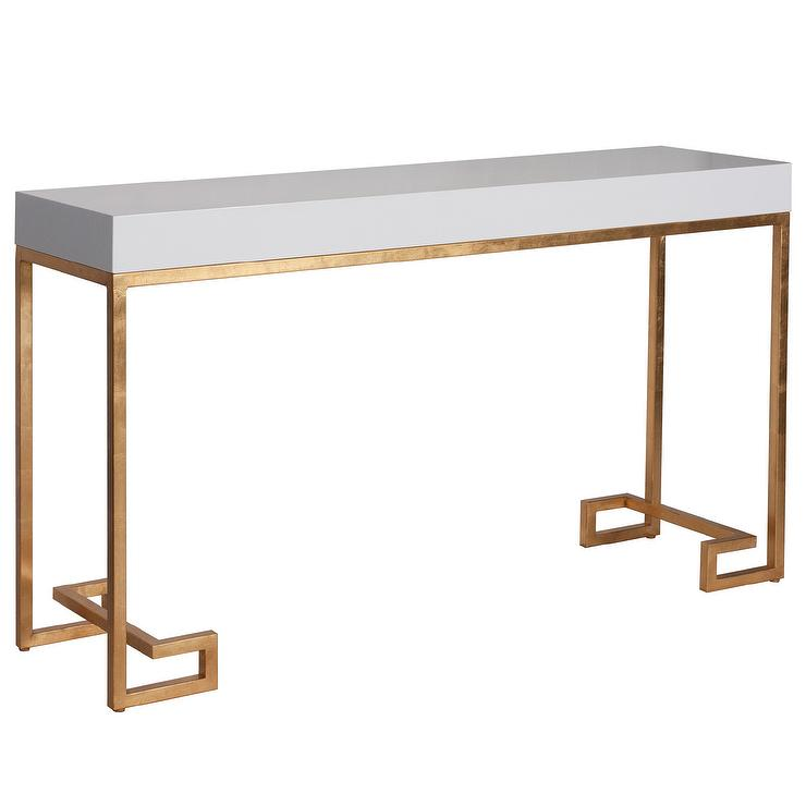 $1,530.00. Phoenician Nights Goldtone Iron And White Marble Console Table