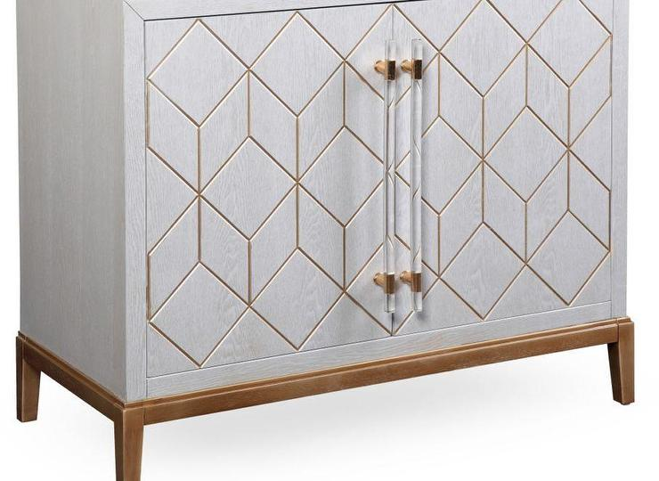 White And Brass Geometric Pattern Acrylic Handles Cabinet