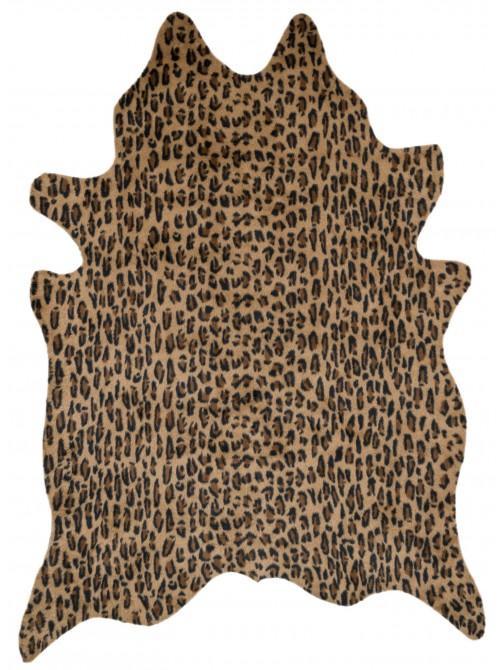 Brown Leopard Print Faux Cowhide Rug