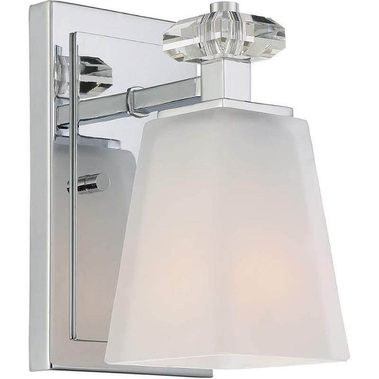 Glass Square Shade Polished Chrome Sconce - Square bathroom sconce