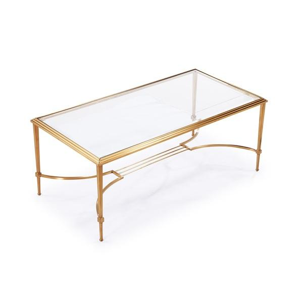 Gold Frame Beveled Glass Rectangle Coffee Table
