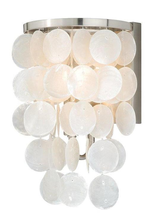 White Hanging Capiz Shells Vanity Light