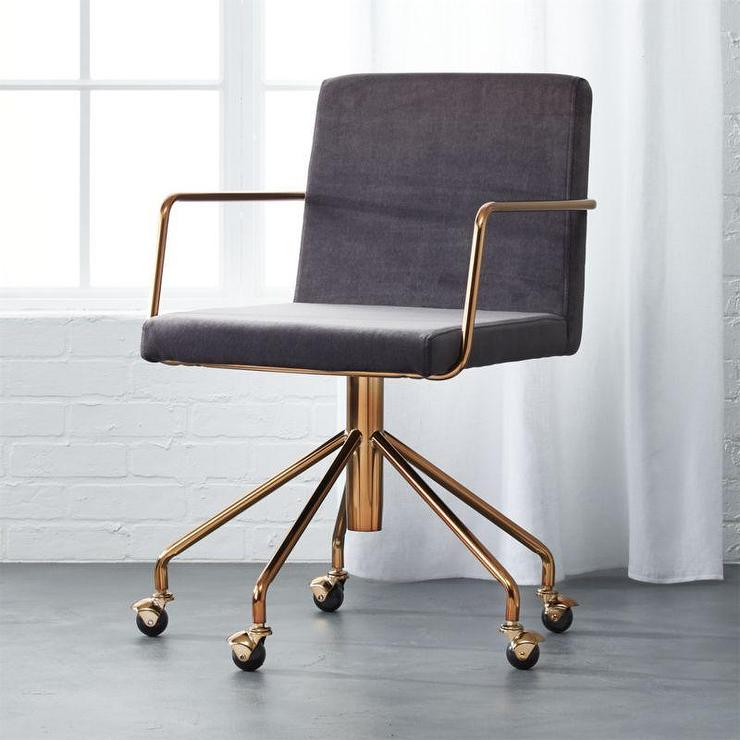 Gray And Brass Steel Frame Office Chair