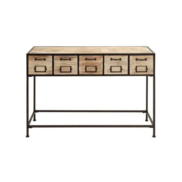 Industrial Tan Wood Console Table View Full Size