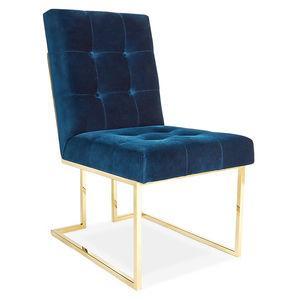 navy velvet armless dining chair
