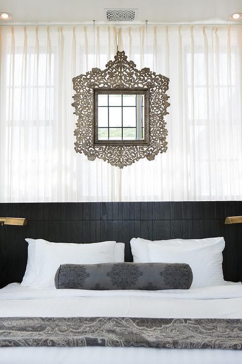 Black Moroccan Bedroom with Mirror Over Bed - Mediterranean - Bedroom