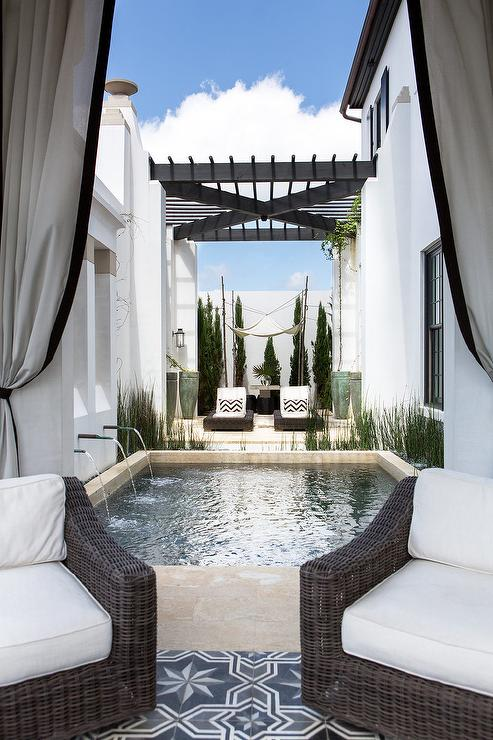Mediterranean Style Patio With Small Pool