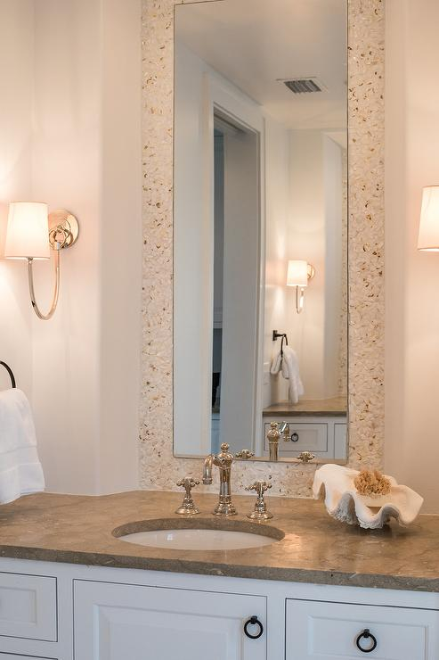 White And Cream Cottage Bathroom With Cream Mosaic Tiles Cottage