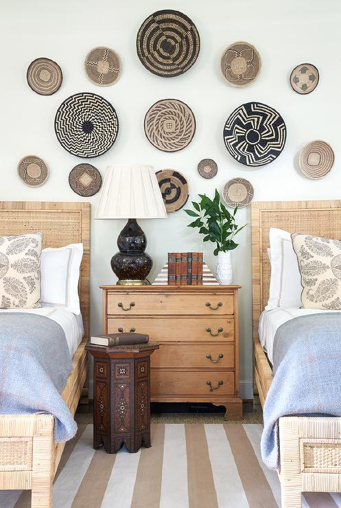 Decorative Wall Baskets twin rattan beds with decorative wall baskets - eclectic - boy's room