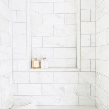 White Marble Shower Niche Over Bench