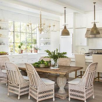 wicker dining chairs transitional kitchen architectural digest