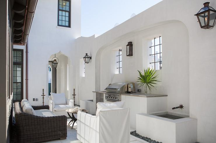Moroccan Style Patio With Moorish Style Doorways