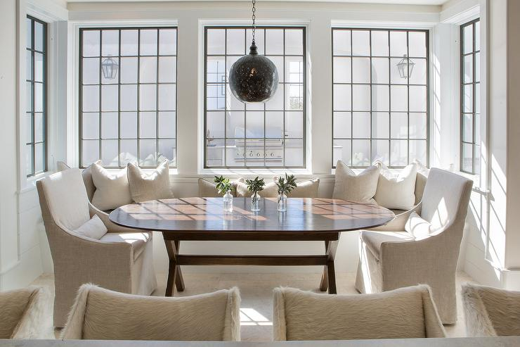 Monogrammed Slipcovered Chairs Transitional Dining Room