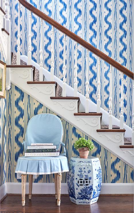 Peachy Blue Chair Under Staircase Transitional Entrance Foyer Uwap Interior Chair Design Uwaporg