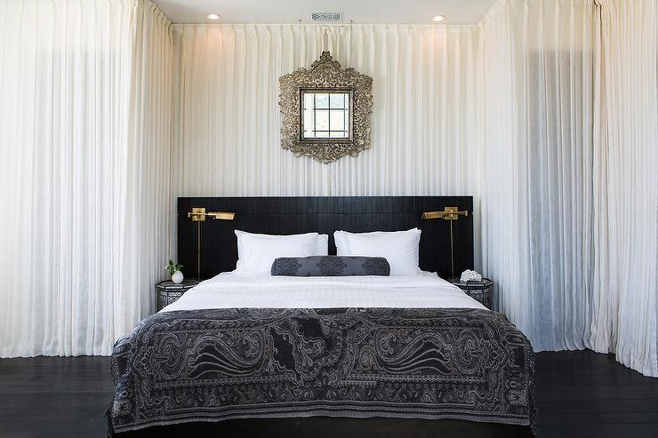 White and Black Moroccan Style Bedroom Mediterranean Bedroom